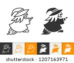 witch black linear and... | Shutterstock .eps vector #1207163971