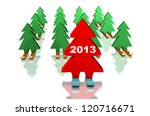 green christmas trees skiing... | Shutterstock . vector #120716671