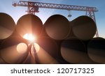 Pipe At A Construction Site In...