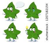 set of cartoon green ivy leaf... | Shutterstock .eps vector #1207182154