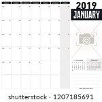 calendar 2019 january. desk... | Shutterstock .eps vector #1207185691