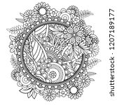 adult coloring page with... | Shutterstock . vector #1207189177