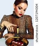 a beautiful  fashionable ... | Shutterstock . vector #1207194304