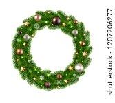 christmas wreath isolated  | Shutterstock . vector #1207206277