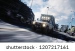 the car goes away from the... | Shutterstock . vector #1207217161