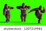 Stock photo funny brown gorilla dancing super realistic fur and hair green screen d rendering 1207219981