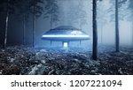 ufo in fog night forest.... | Shutterstock . vector #1207221094