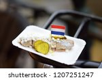 the famous herring with onions...   Shutterstock . vector #1207251247