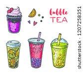 bubble tea hand drawn... | Shutterstock .eps vector #1207258351