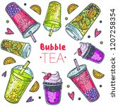 bubble tea hand drawn... | Shutterstock .eps vector #1207258354