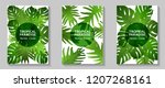 tropical paradise leaves vector ... | Shutterstock .eps vector #1207268161