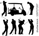 Golf Player Silhouette On Whit...