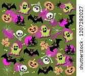 halloween pattern  doodles gost ... | Shutterstock .eps vector #1207282027