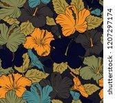 seamless pattern in black ... | Shutterstock . vector #1207297174
