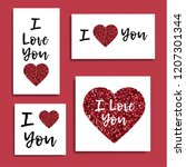i love you. set of greeting... | Shutterstock .eps vector #1207301344