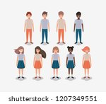 group of young kids | Shutterstock .eps vector #1207349551