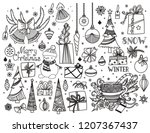 christmas doodle collection.... | Shutterstock .eps vector #1207367437