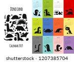 dinosaurs  calendar 2019 design | Shutterstock .eps vector #1207385704
