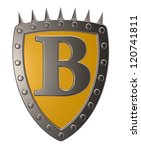 metal shield with letter b on...