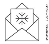 letter to santa thin line icon  ... | Shutterstock .eps vector #1207440154