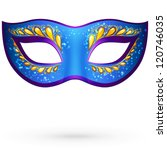 Navy blue ornate carnival mask, vector illustration