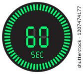 the digital timer 60 seconds  1 ... | Shutterstock .eps vector #1207474177