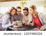 group of four friends having... | Shutterstock . vector #1207480204