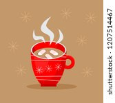 cute cup of hot cocoa in...   Shutterstock .eps vector #1207514467