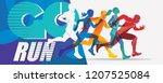 running people set of... | Shutterstock .eps vector #1207525084