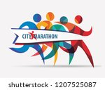 running people set of stylized... | Shutterstock .eps vector #1207525087