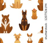 dog types and breeds canine... | Shutterstock .eps vector #1207526194