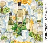 watercolor glasses of white... | Shutterstock . vector #1207538014