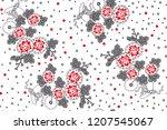 rose pattern bunch of flowers... | Shutterstock .eps vector #1207545067