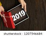 top view of happy new year 2019 ... | Shutterstock . vector #1207546684