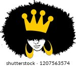 afro woman with crown  | Shutterstock .eps vector #1207563574