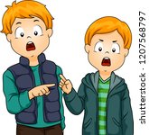 illustration of two kid boys... | Shutterstock .eps vector #1207568797