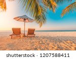 tropical beach resort hotel... | Shutterstock . vector #1207588411