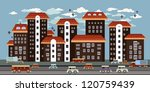 seamless city. cute little town ... | Shutterstock .eps vector #120759439