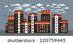 seamless city. cute little town ... | Shutterstock .eps vector #120759445