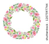 watercolor wreath flowers leaves | Shutterstock . vector #1207597744