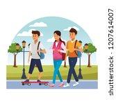 young city people cartoon | Shutterstock .eps vector #1207614007