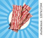 bacon slices on shining... | Shutterstock .eps vector #1207617244
