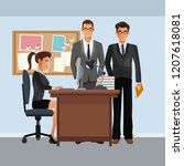 business characters in office... | Shutterstock .eps vector #1207618081