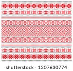 set of seamless embroidered... | Shutterstock .eps vector #1207630774