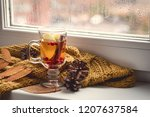 cup of hot autumntea with apple ... | Shutterstock . vector #1207637584