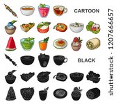 vegetarian dish cartoon icons...