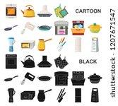 kitchen equipment cartoon icons ...   Shutterstock .eps vector #1207671547