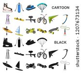 extreme sport cartoon icons in... | Shutterstock .eps vector #1207673134
