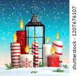 christmas still life with group ... | Shutterstock .eps vector #1207676107