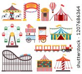 amusement park isolated icons.... | Shutterstock .eps vector #1207686364